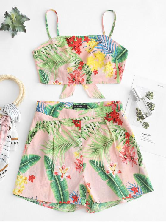 lady ZAFUL Floral Print Knotted Back Shorts Set - PINK L