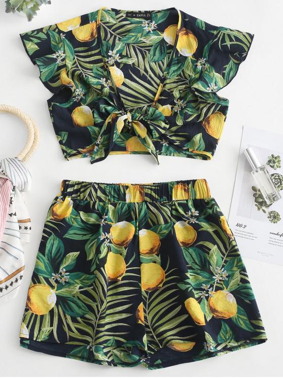 shops ZAFUL Lemon Print Tie Front Shorts Set - DEEP BLUE L