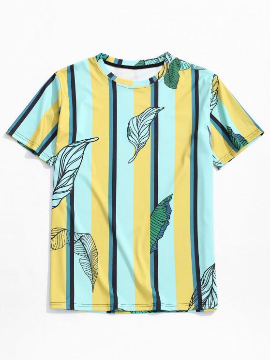 ladies Striped Leaf Print Short Sleeves T-shirt - MULTI XS