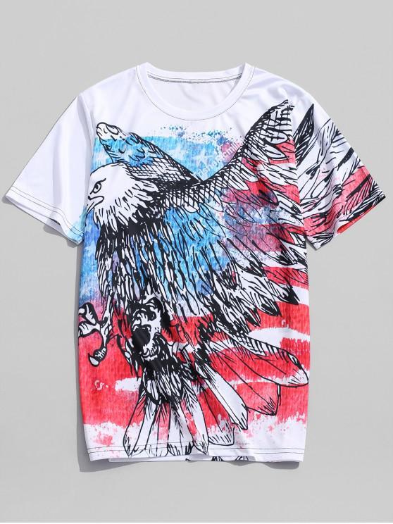 affordable Flying Eagle Retro American Flag Print Beach T-shirt - MULTI-A 4XL