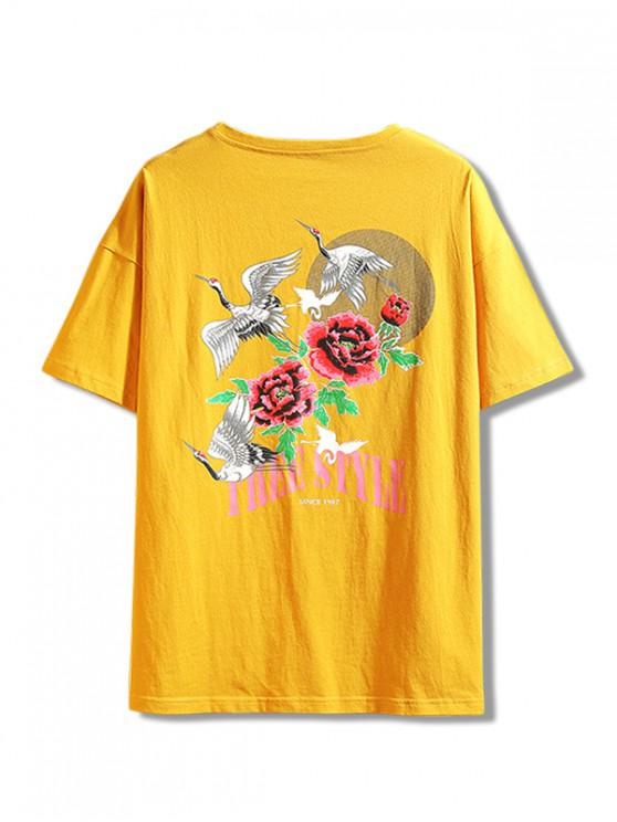 shop Flying Crane Flower Letter Print Casual Tee - YELLOW M