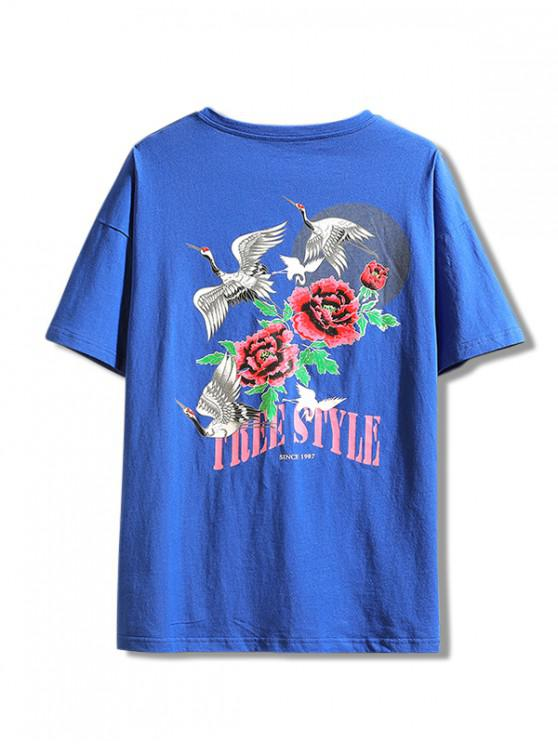 unique Flying Crane Flower Letter Print Casual Tee - BLUE XL