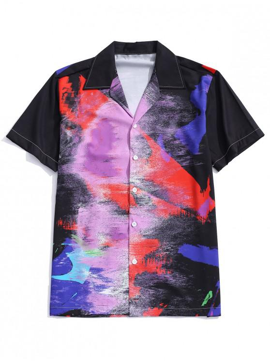 shops Short Sleeves Painting Print Casual Shirt - MULTI XL