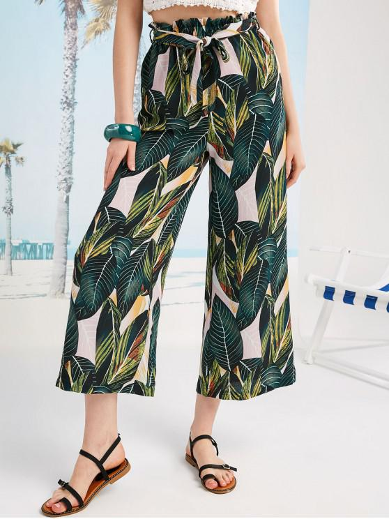 womens ZAFUL Leaf Print Palazzo Pants - MULTI S