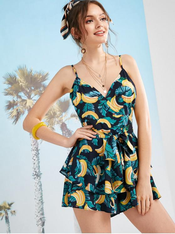 new ZAFUL Flounce Banana Leaf Belted Romper - MULTI L