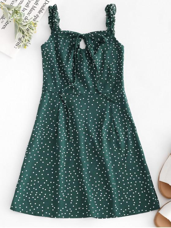 outfits Dots Ruffles Mini Dress - GREEN M