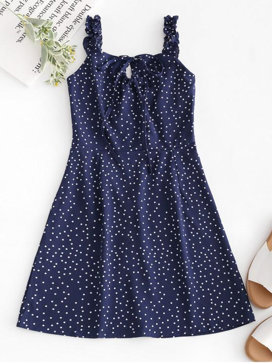 lady Dots Ruffles Mini Dress - MIDNIGHT BLUE XL