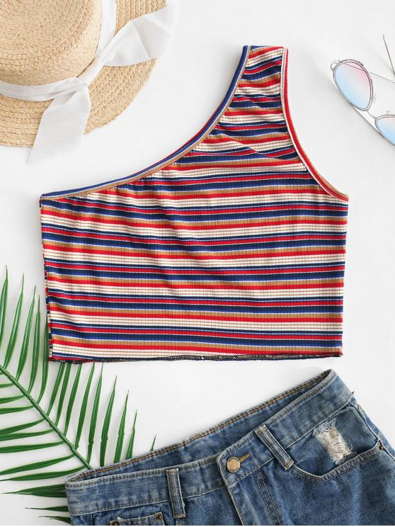 fancy Colorful Striped One Shoulder Top - MULTI-A M