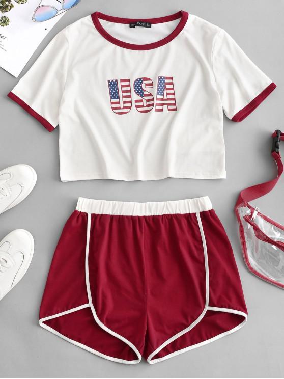 women ZAFUL USA Graphic Piping Shorts Set - MULTI L