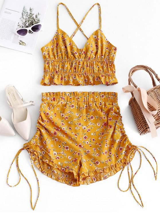 lady ZAFUL Floral Criss Cross Top And Cinched Shorts Set - BEE YELLOW L