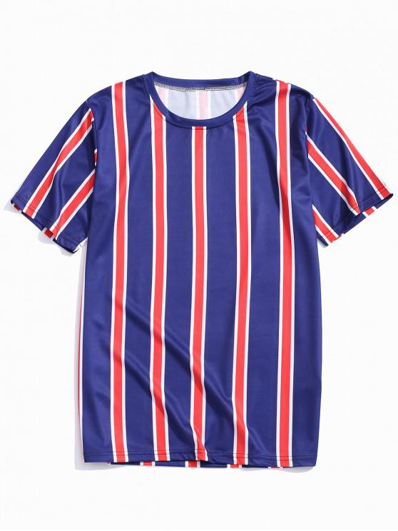 unique Stripes Print Color Block Tee - CADETBLUE XL