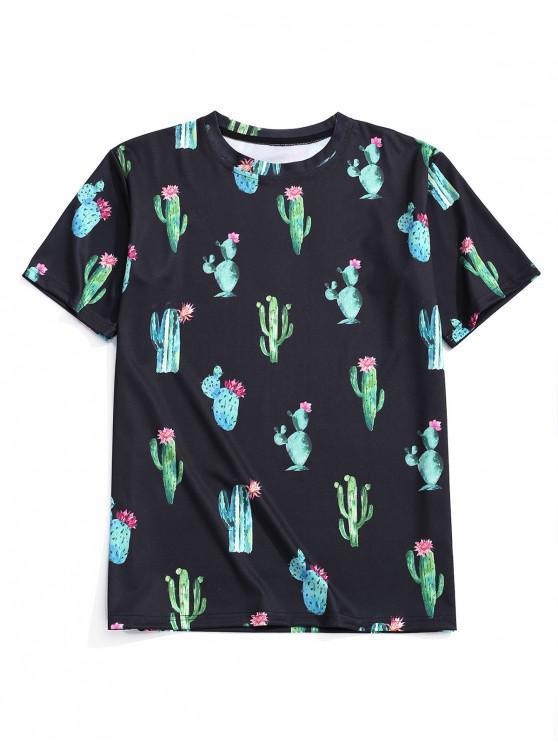 T-Shirt Décontracté à Imprimé Cactus Fleuris - Noir M