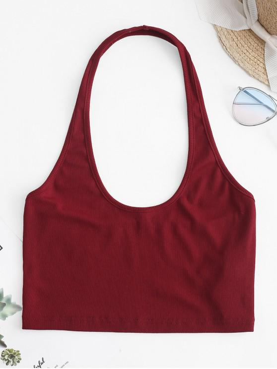 chic ZAFUL Backless Knit Halter Crop Top - RED WINE L