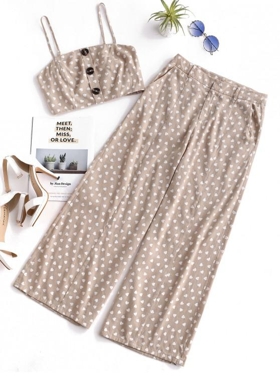online ZAFUL Buttons Heart Print Wide Leg Pants Set - LIGHT KHAKI L