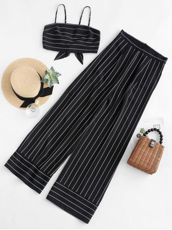 affordable ZAFUL Striped Knotted Top and Wide Leg Pants Set - BLACK L