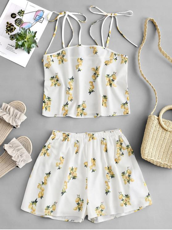 unique ZAFUL Lemon Print Tied Wide Leg Shorts Set - WHITE S