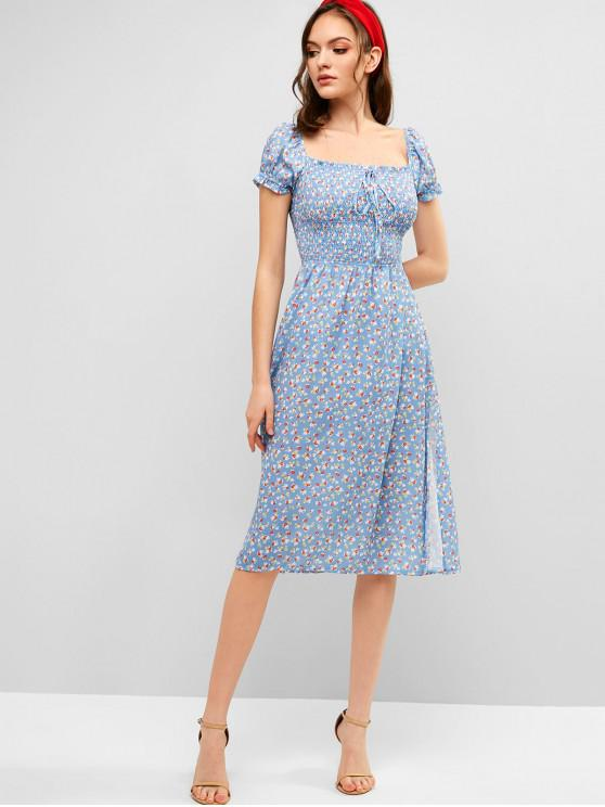 buy Smocked Slit Floral A Line Dress - BLUE L