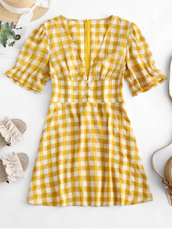 womens ZAFUL Low Cut Plaid Mini Dress - GOLDEN BROWN M
