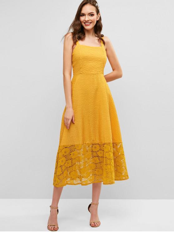 outfit Straps Lace Panel Midi Dress - YELLOW XL