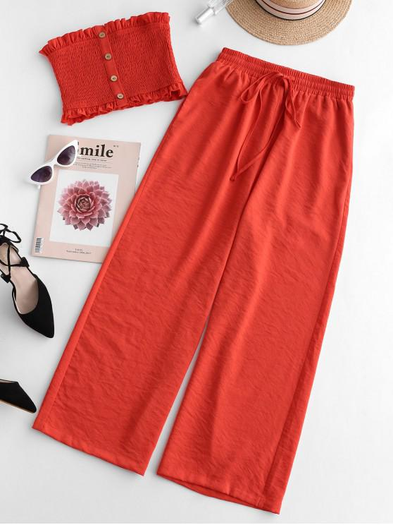 women ZAFUL Smocked Buttoned Bandeau Top And Pants Set - SUNRISE ORANGE L