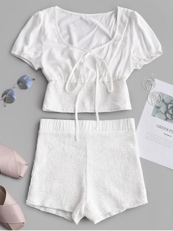 shop ZAFUL Tied Collar Top And Smocked Shorts Set - WHITE L