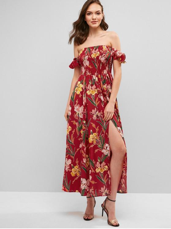 eedd4050d45a 34% OFF] 2019 Smocked Floral Slit Off Shoulder Dress In RED | ZAFUL