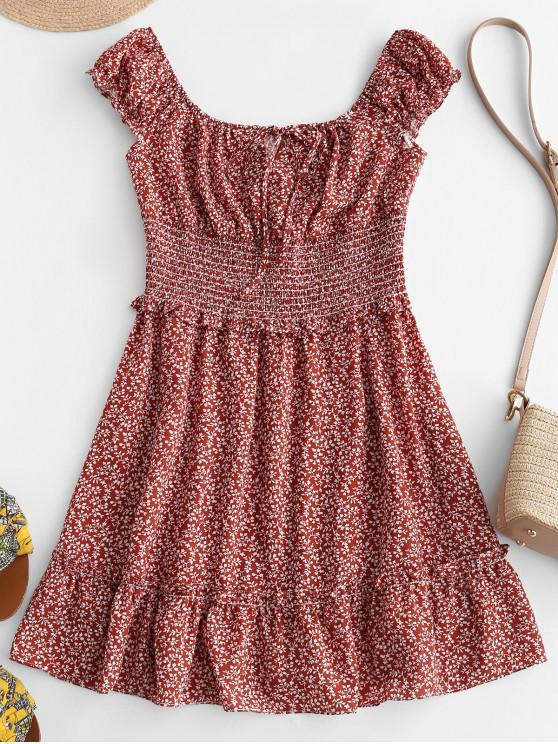 latest ZAFUL Lettuce Smocked Waist Flounce Print Dress - CHESTNUT RED M