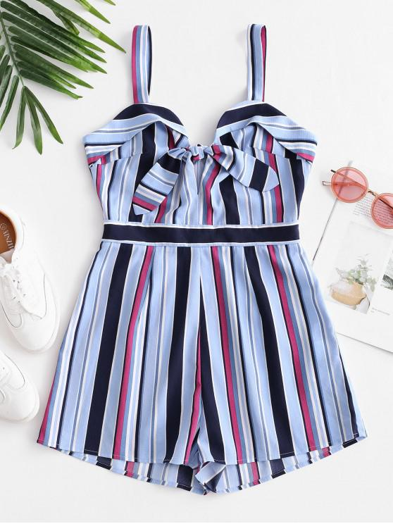 trendy ZAFUL Striped Tie Front Sleeveless Romper - MULTI S