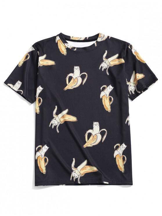 T-Shirt Décontracté à Imprimé Chat-Banane - Noir L