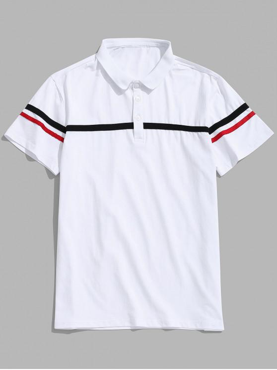 womens Striped Printed Button Short Sleeves T-shirt - WHITE M