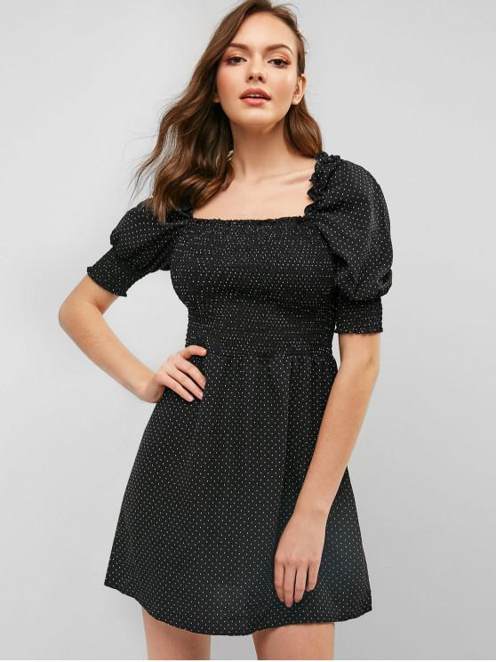 Minivestido Smocked Mini Dama Cuadrado Vestido - Negro L