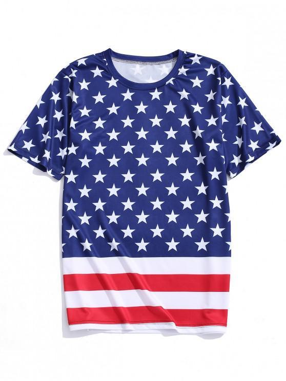 fashion Star and Stripes Flag Print Casual T-shirt - CADETBLUE L
