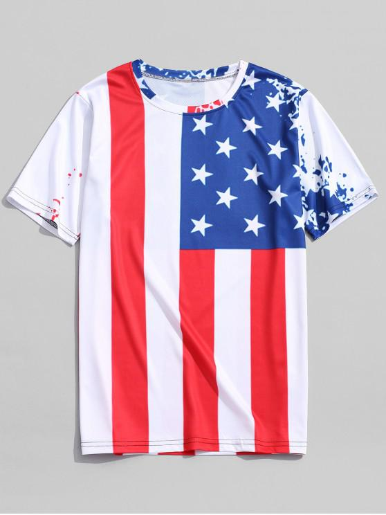 best Star and Stripes Patriotic Flag Print T-shirt - RED WINE L