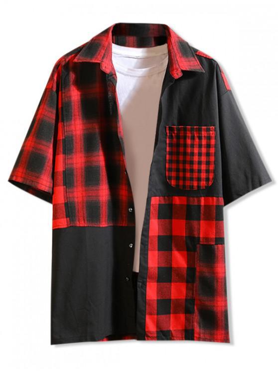 fashion Plaid Print Color Block Panel Shirt - RED L