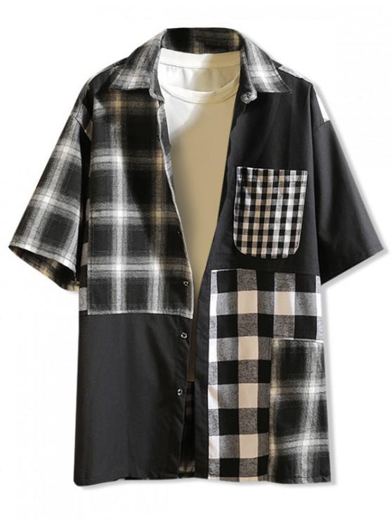 قميص منقوش طباعة بلوك لوحة - أسود M