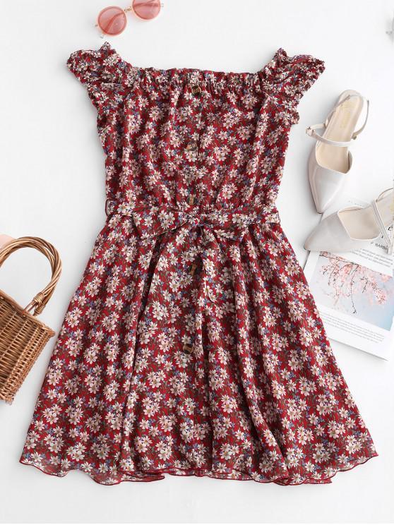 Vestido floral con abotonado y hombros descubiertos con cinturón - Castaño Rojo S