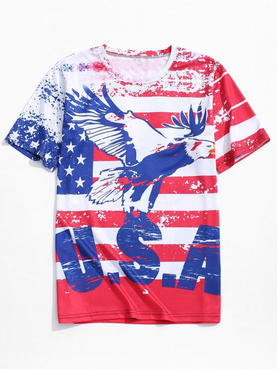 fancy Retro American Flag Eagle Print Beach T-shirt - CHERRY RED M
