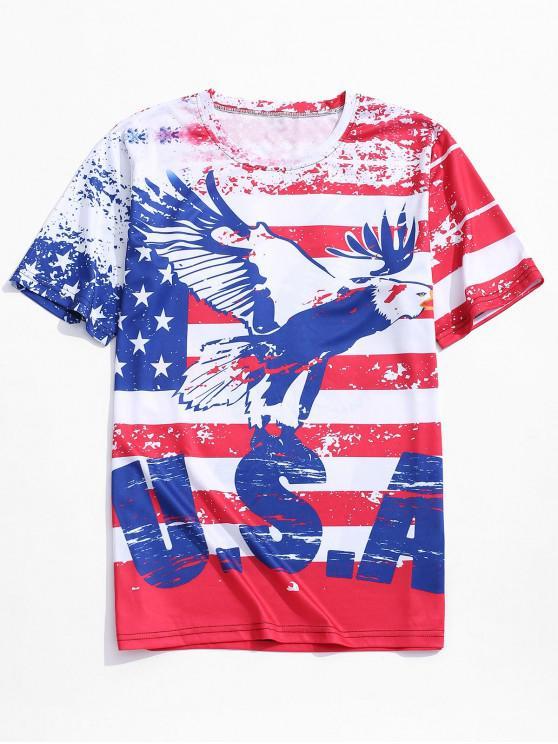 affordable Retro American Flag Eagle Print Beach T-shirt - CHERRY RED 2XL