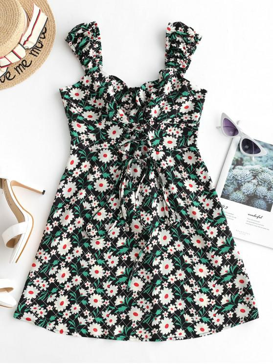 affordable ZAFUL Lace Up Front Floral Print Flare Dress - MILK WHITE L