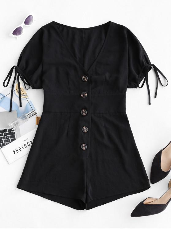 new ZAFUL Tied Sleeve Button Up Romper - BLACK L