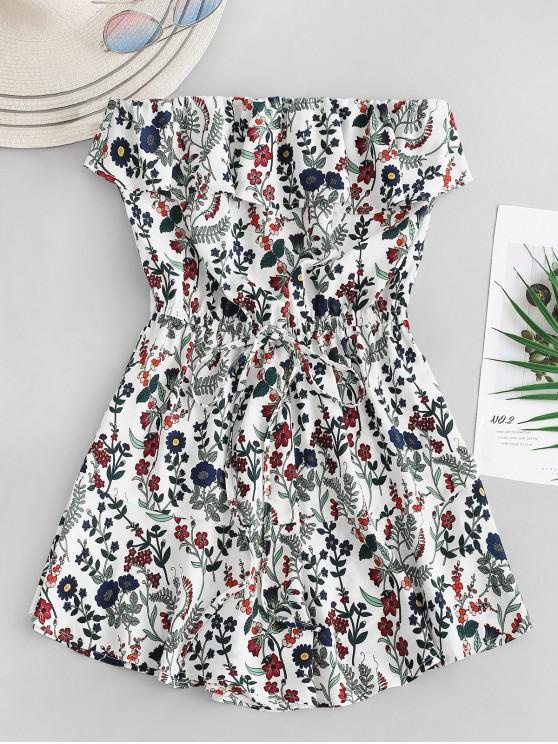 buy ZAFUL Floral Ruffles Strapless Romper - WHITE M