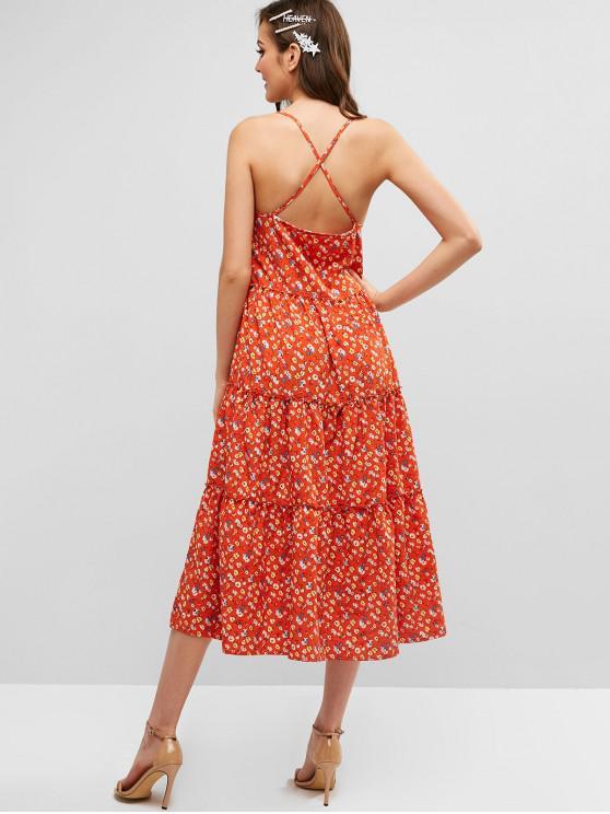 Vestido Midi Cami Floral De Criss Cross - Naranja L