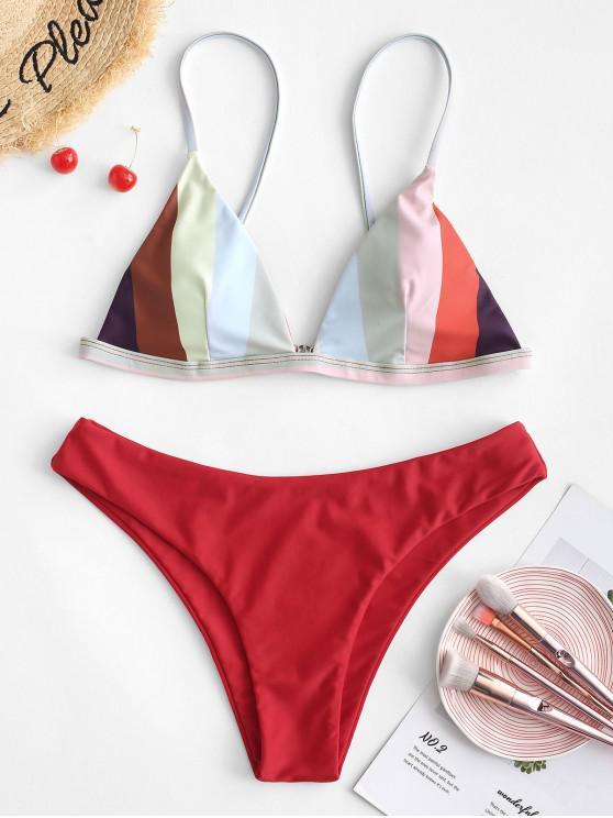 women's ZAFUL Color Block Cami Bikini Set - MULTI-A S
