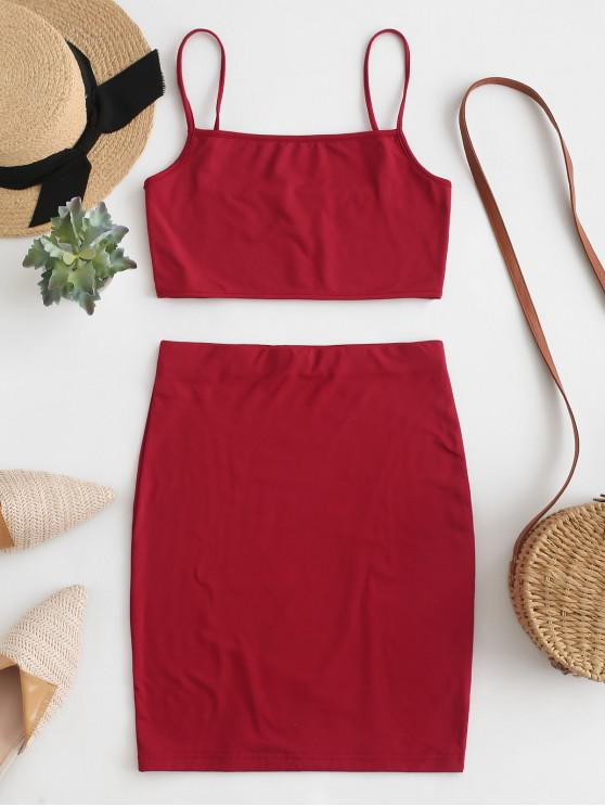 outfit Fleece Two Piece Dress - RED WINE M