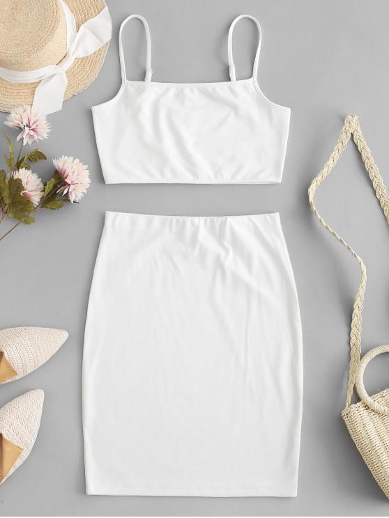 women's Fleece Two Piece Dress - WHITE L