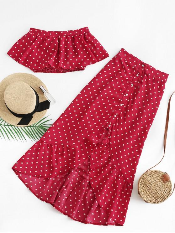 women's Flounce Polka Dot Two Piece Dress - RED WINE L