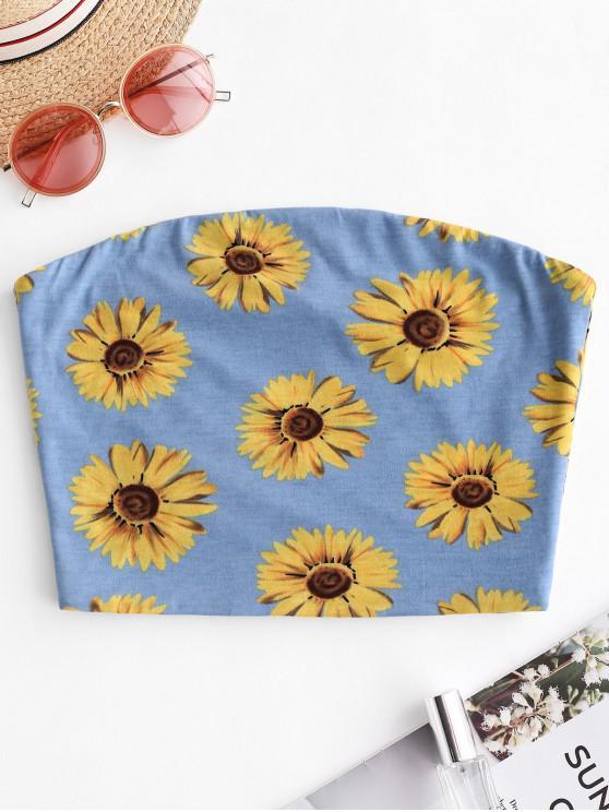 chic ZAFUL Sunflower Print Crop Strapless Top - DAY SKY BLUE L