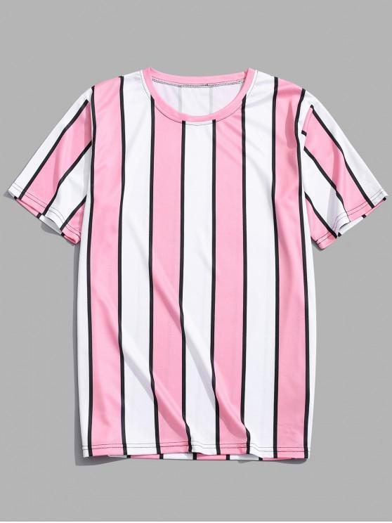 trendy Color Block Striped Print T-shirt - PINK 4XL