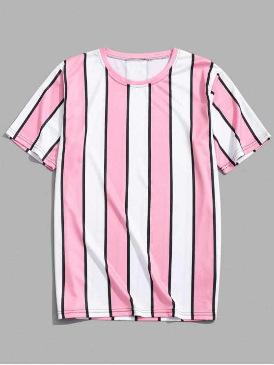 latest Color Block Striped Print T-shirt - PINK 3XL