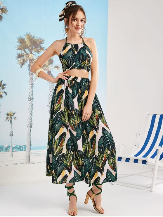 women ZAFUL Leaves Print Knotted Back Maxi Skirt Set - MULTI L